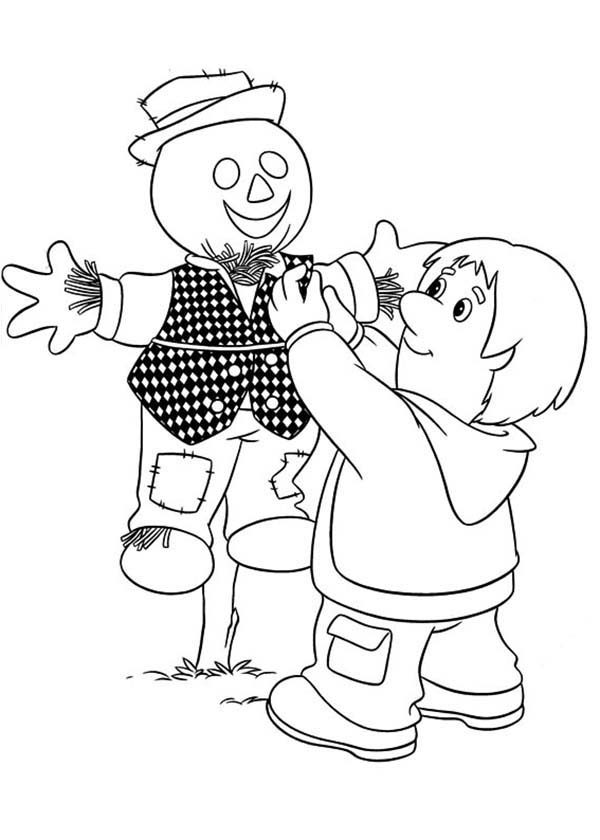 Postman Pat, : Bill Thompson Making a Scarecrow in Postman Pat Coloring Pages