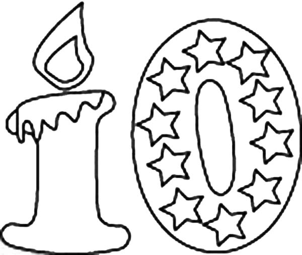Number 10, : Birthday Candle Number 10 Coloring Page