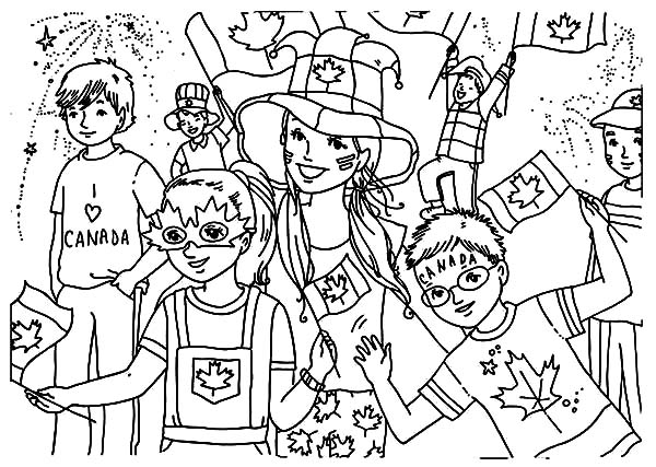 Canada Day, : Bunch of Kids Celebrating Canada Day Coloring Pages