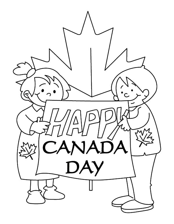 Canada Day, : Bunch of Kids Making Sign for Canada Day Coloring Pages