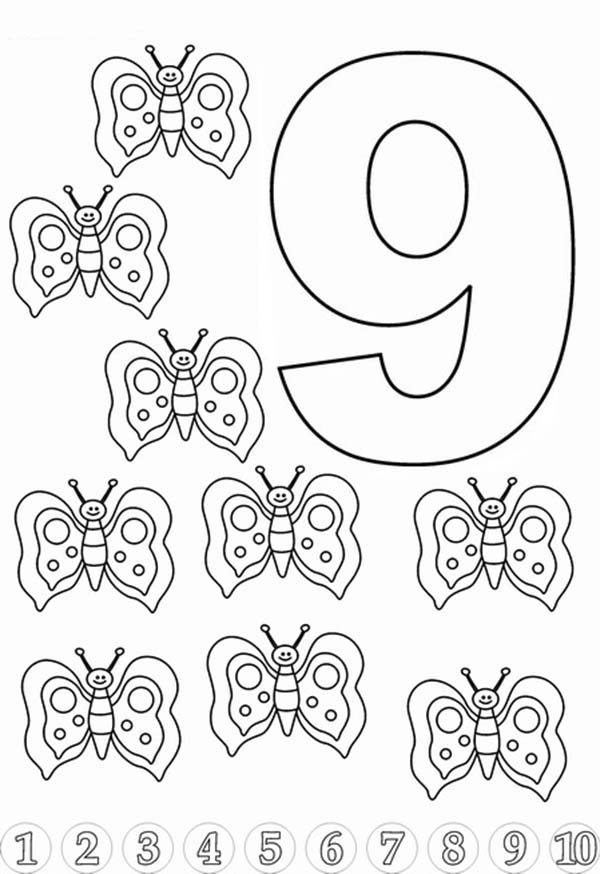 Number 9, : Butterfly for Learn Number 9 Coloring Page
