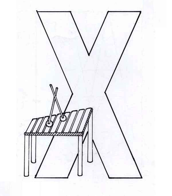 Letter X, : Capital Letter X Coloring Page