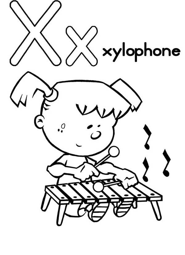 Letter X, : Capital Letter X Coloring for Xylophone Page
