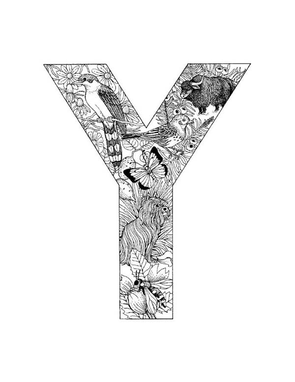 Letter Y, : Capital Letter Y Coloring Page