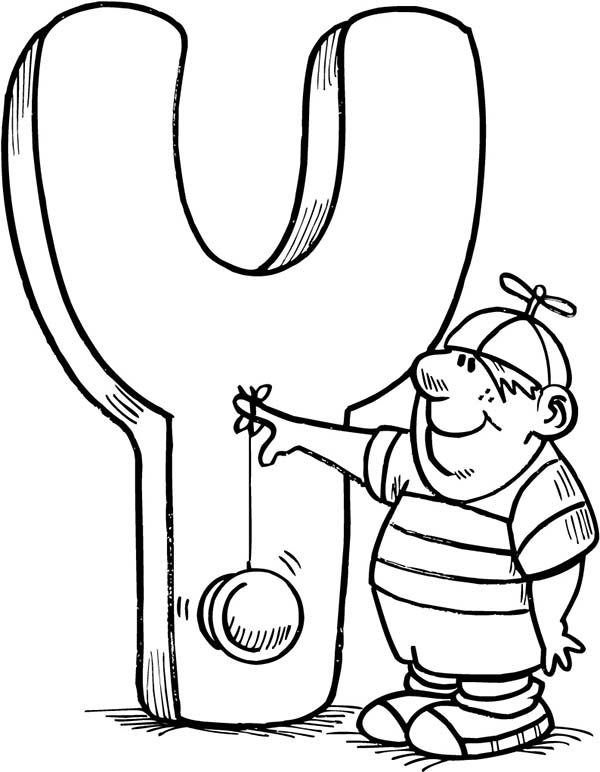 Letter Y, : Capital Letter Y for Kids Coloring Page