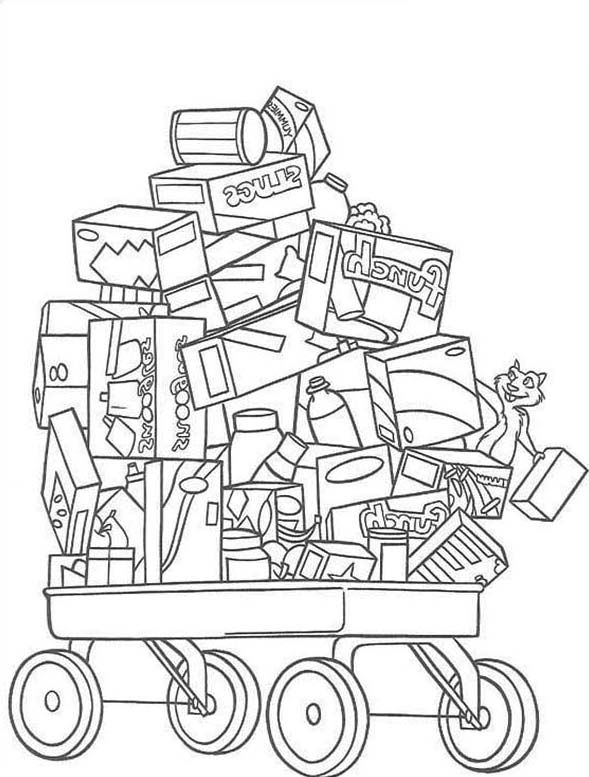 Over the Hedge, : Cart Full of Toys in Over the Hedge Coloring Pages