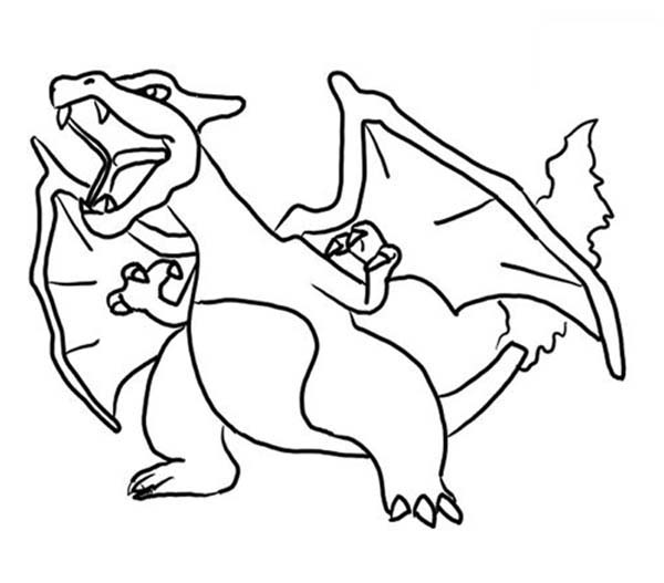Pokemon, : Charizard Pokemon is Angry Coloring Pages