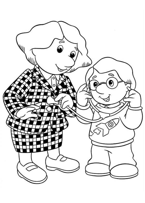 Postman Pat, : Charlie Playing Doctor with His Mother in Postman Pat Coloring Pages