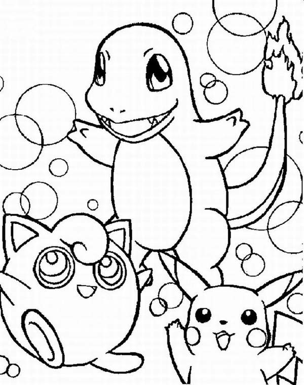 Pokemon, : Charmander Pokemon and Friends Coloring Pages