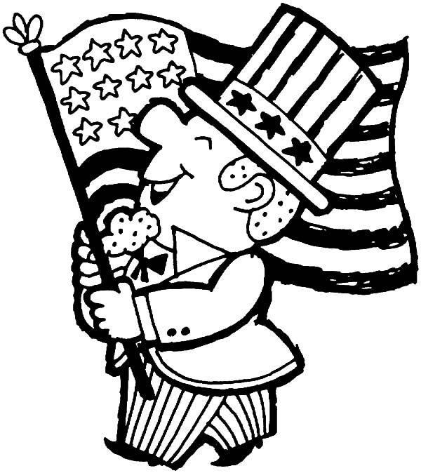 Independence Day, : Cheerful 4th July Independence Day Coloring Page