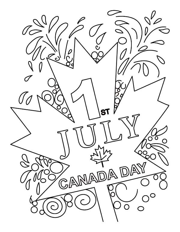 Canada Day, : Cheerful Canada Day on July 1st Coloring Pages