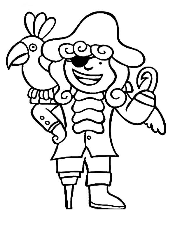 Pirates, : Chibi Hook Pirate and His Parrot Coloring Pages