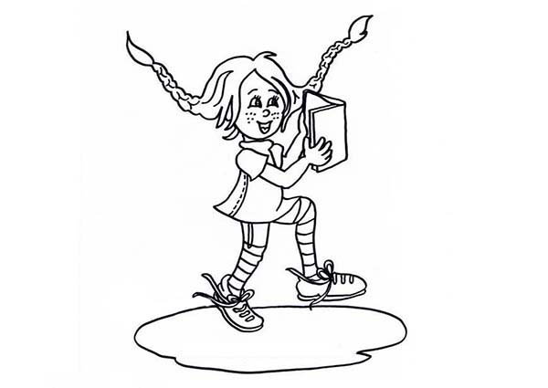 Pippi Longstocking, : Chibi Pippi Longstocking Love to Read Book Coloring Pages