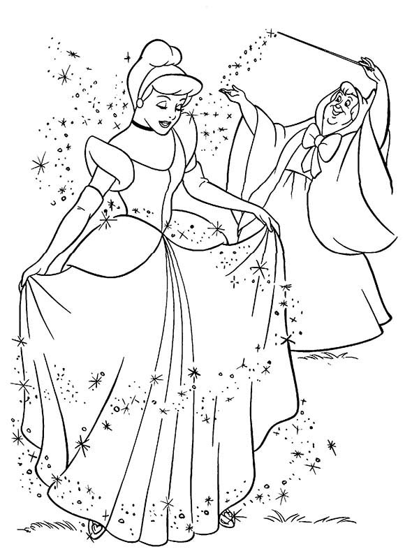 Princesses Birthday, : Cinderella Night Gown Party in Princesses Birthday Coloring Pages