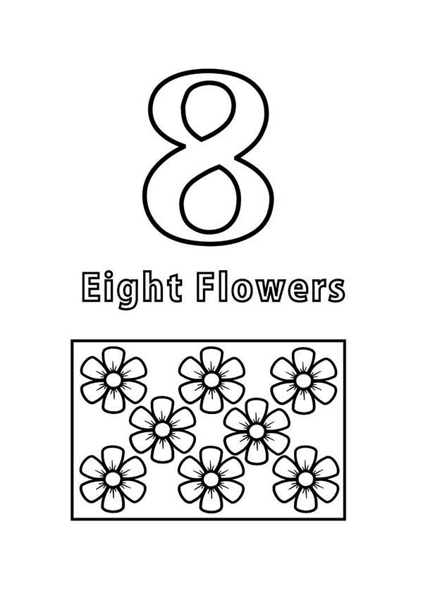 Number 8, : Count Flowers to Number 8 Coloring Page