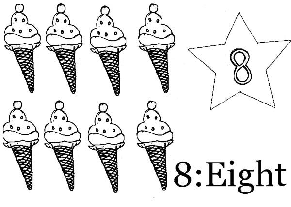 Number 8, : Count Ice Cream to Number 8 Coloring Page