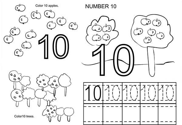 Number 10, : Count to Number 10 Coloring Page