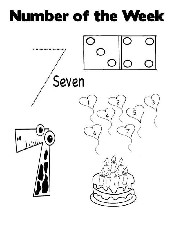 Number 7, : Count to Number 7 Coloring Page