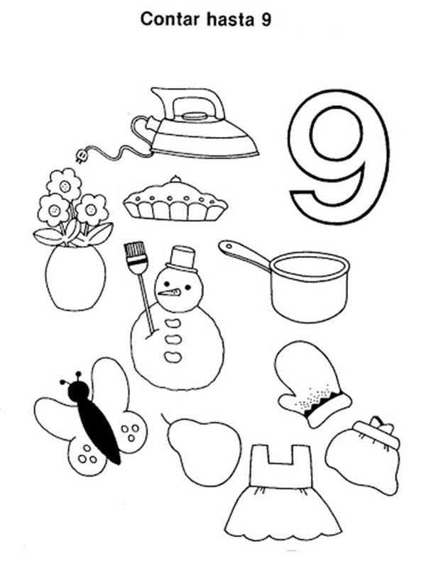 Number 9, : Counting Number 9 Coloring Page