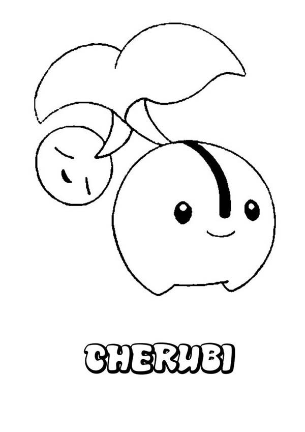 Pokemon, : Cute Cherubi Pokemon Coloring Pages