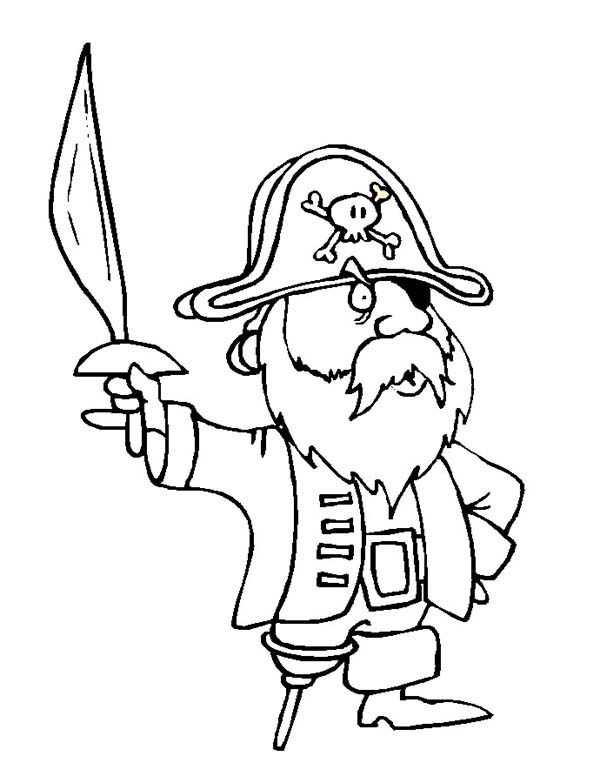 Pirates, : Cute Pirate Holding Sword Coloring Pages