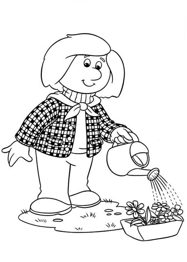 Postman Pat, : Dorothy Thompson Watering Her Plant in Postman Pat Coloring Pages