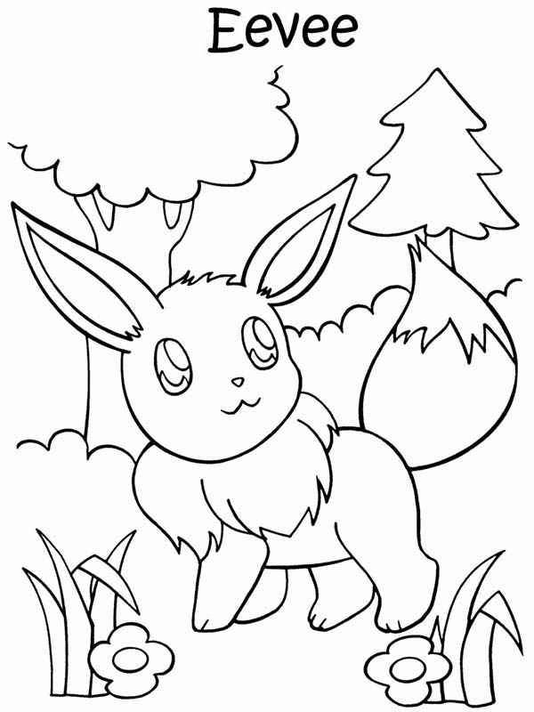 Pokemon, : Eevee Pokemon Walking in the Jungle Coloring Pages