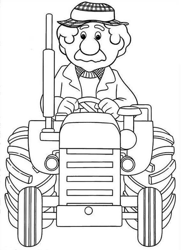 Postman Pat, : Fancy Alf Thompson Ride Tractor in Postman Pat Coloring Pages