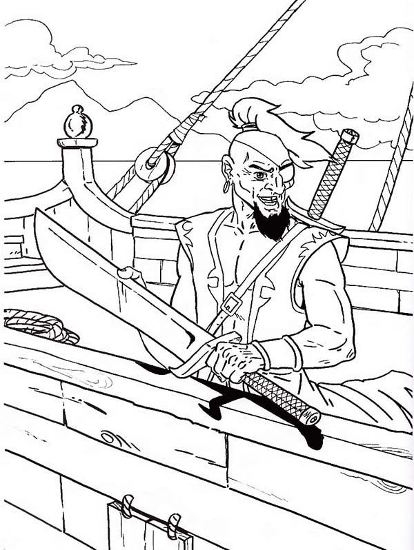 Pirates, : Fearsome Pirate Coloring Pages