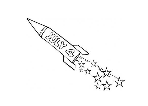 Independence Day, : Fireworks Rocket on 4th July Independence Day Coloring Page