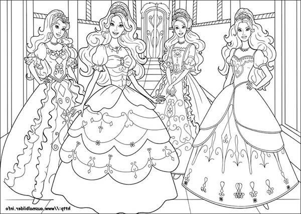 Barbie and Three Musketeers, : Four Beautiful Barbie and Three Musketeers Coloring Pages
