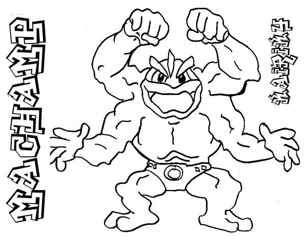 Pokemon, : Four Hand Pokemon Machamp Coloring Pages