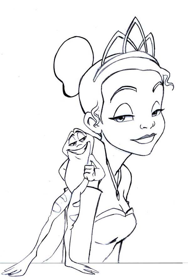 Princess and the Frog, : Frog Teasing Princess Tiana in Princess and the Frog Coloring Pages