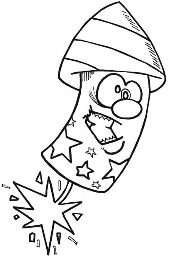 Independence Day, : Funny Firecracker on 4th July Independence Day Coloring Page