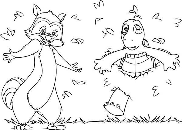 Over the Hedge, : Hammy and Verne Came Out from Bush in Over the Hedge Coloring Pages