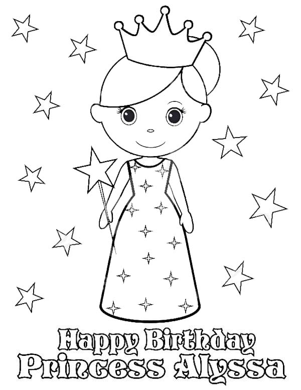 Princesses Birthday, : Happy Birthday Princess Alyssa in Princesses Birthday Coloring Pages