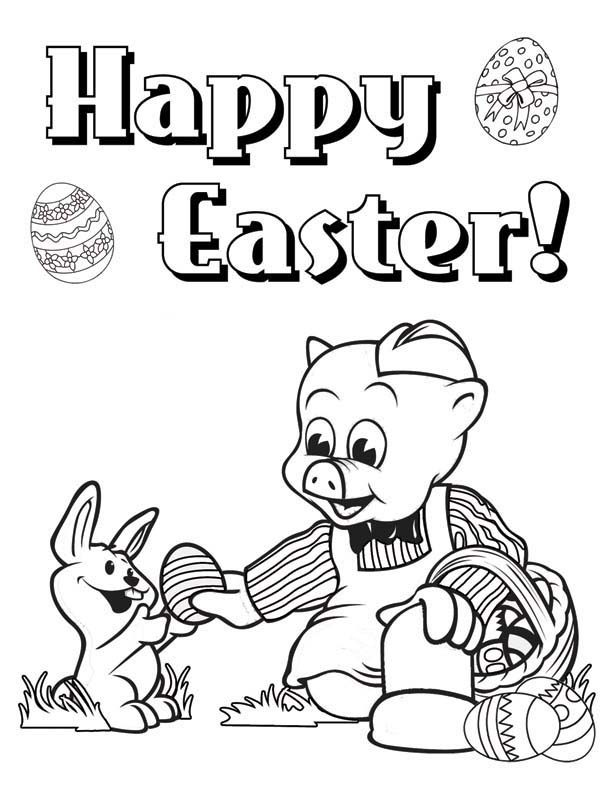 Piggly Wiggly, : Happy Easter Piggly Wiggly Give Egg to a Rabbit Coloring Pages