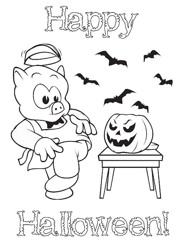 Piggly Wiggly, : Happy Halloween Piggly Wiggly Scary Pumpkin Coloring Pages
