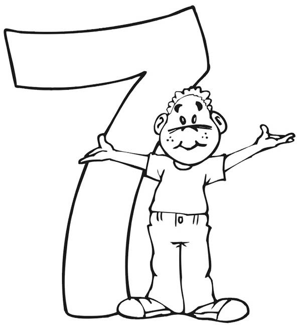 Number 7, : Here Comes Number 7 Coloring Page