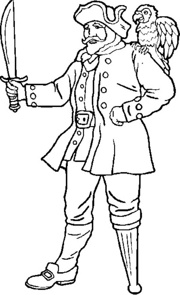 Pirates, : Hideous One Legged Pirate Coloring Pages
