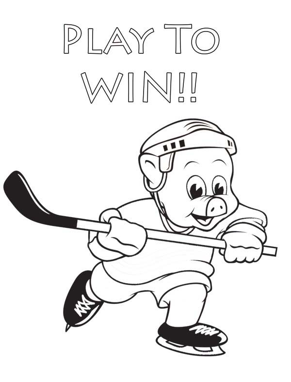 Piggly Wiggly, : Hockey Player Piggly Wiggly Coloring Pages