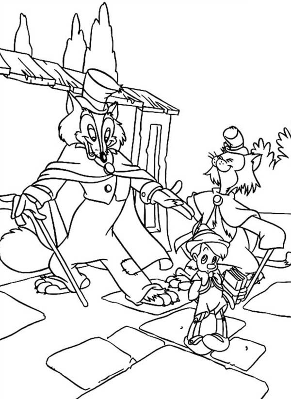 Pinocchio, : Honest Gideon and john is Trying to Deceive Pinocchio Coloring Pages