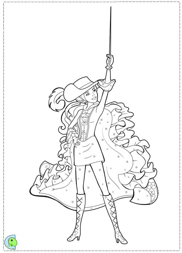 Barbie and Three Musketeers, : How to Draw Barbie and Three Musketeers Coloring Pages
