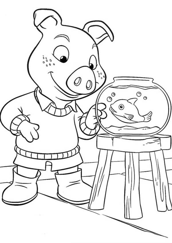 Piggly Wiggly, : Jakers Piggley Looking at Fish in Piggly Wiggly Coloring Pages