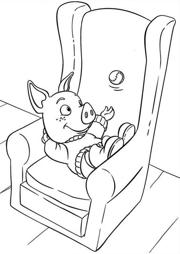 Piggly Wiggly, : Jakers Piggley Sitting at Couch in Piggly Wiggly Coloring Pages