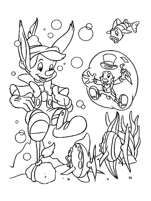 Pinocchio, : Jiminy Cricket Save Pinocchio from Drowning Coloring Pages