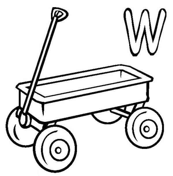 Letter W, : Kids Learn Letter W for Wagon Coloring Page