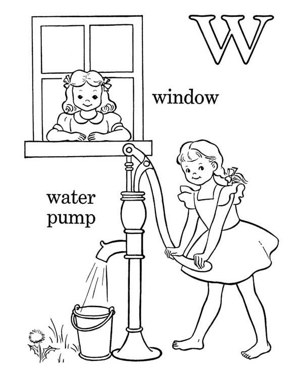 Letter W, : Kids Learn Words for Letter W Coloring Page
