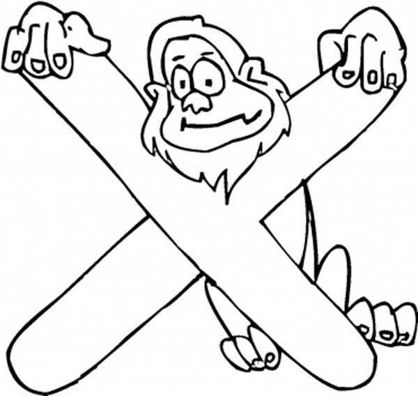 Letter X, : Kids Learning Letter X Coloring Page