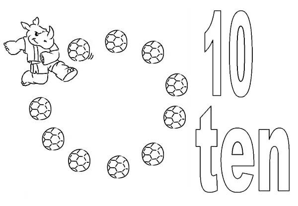 Number 10, : Kids Learning Number 10 Coloring Page